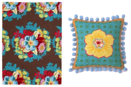bouquet rug + water blossom pillow
